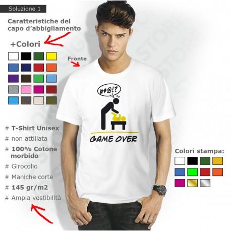 magliette papà game over, t shirt game over papà, maglietta futuro papà, maglietta papà e figlio, magliette papà bambino
