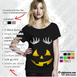 Magliette premaman Halloween, magliette gravidanza scheletro, magliette premaman divertenti, magliette premaman simpatiche