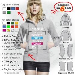 felpe personalizzate, felpa cappuccio donna, felpe con zip, felpe con cerniera, felpe stampate, crea la tua felpa, felpe ragazza