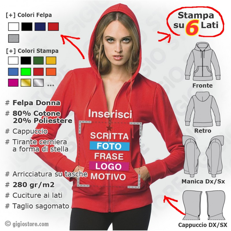 sale retailer 97aa7 a7e42 Felpe Personalizzate da donna - Gigio Store