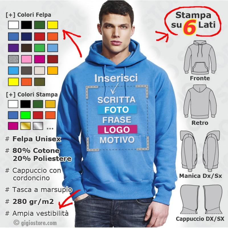 purchase cheap ba5b9 1fc86 Felpe Personalizzate con Cappuccio Uomo Unisex | www ...
