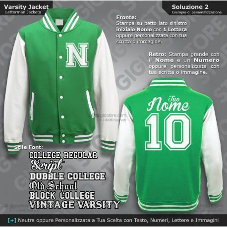 Varsity Jacket Felpa Giacca College Personalizzata Bambino Felpe Baseball Boys Letterman Kid Old School Giubbotto Bimbo Football