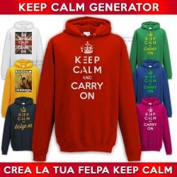 Keep Calm Generator Felpa Personalizzata keep calm and carry on con tua scritta e immagine