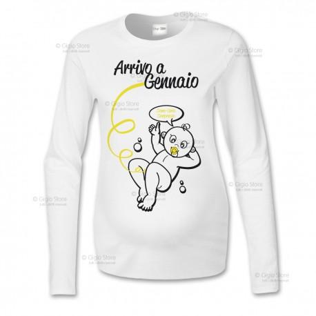 Maglietta Premaman Maniche Lunghe Arrivo a personalizzata con il Mese di Nascita Idee Regalo per Nuove e Future Mamme