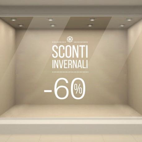 Vetrofania Saldi Invernali realizzata con Adesivi PVC di qualità per decorazioni vetrine negozi. Percentuale Sconti Modificabile