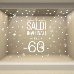 Vetrofania Saldi Invernali con Percentuale Modificabile fatta con Adesivi di qualità Intagliati Prespaziati per Vetrine Negozi