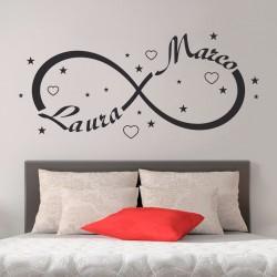 Wall Stickers Simbolo Infinito Amore Adesivi Murali Personalizzati con il tuo Nome per la decorazione della Tua camera da letto