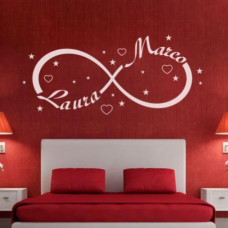 Wall sticker adesivo muro simbolo infinito amore gigio store for Decorazioni muro camera da letto