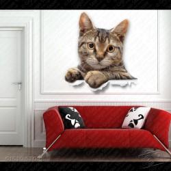 Wall Sticker 3D, Adesivo design Gatto, adesivi murali camera da letto bambini, Adesivi da Parete, adesivi decorativi gigio store