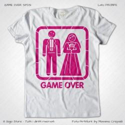 magliette per matrimonio, magliette sposi, t-shirt addio al nubilato, t-shirt addio al celibato, Magliette Game Over Sposi