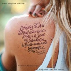 Logo Design per Tatto Scritte Aforismi Giacomo Casanova Tatuaggio l'Amore vuol essere nutrito di Riso e Giochi. Acquista Licenza