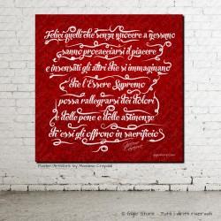 """Poster con frasi e Aforismi di G Casanova """"Felici quelli che sanno procacciarsi il piacere"""" Stampa su tela pittorica con telaio"""