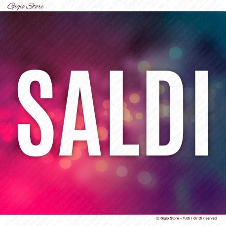 Vetrofania Scritta Saldi decorazione vetrine negozi fatta con materiale adesivo intagliato senza sfondo qualità MADE in ITALY