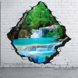 Trompe l'Oeil Adesivi Murali Wall Sticker Fiume con Cascata stampa HD qualità MADE in ITALY facile da attaccare su muri e pareti