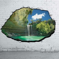 Trompe l'Oeil Adesivi idee regalo Murali Wall Sticker Lago con Cascata stampa HD qualità MADE in ITALY Wallpaper per muri pareti