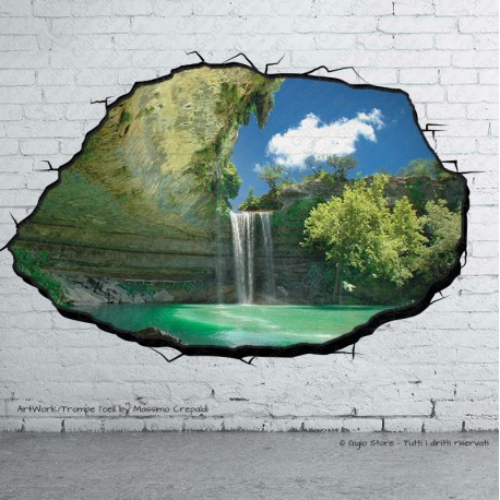 Trompe L Oeil Adesivi Murali.Trompe L Oeil Adesivi Murali Wall Sticker Lago Cascata