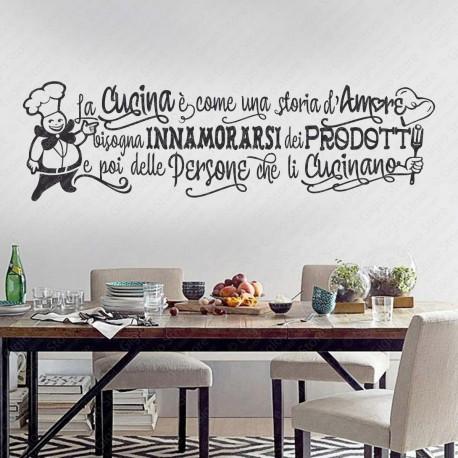 La Cucina è come una storia d\'Amore Adesivi per Muro e Pareti