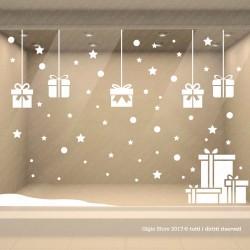 Vetrofania di Natale Vetrofanie Natalizie Adesivi Decorazioni Vetrine Negozi, Scritte elementi Decorativi Natale Vetrina Negozio
