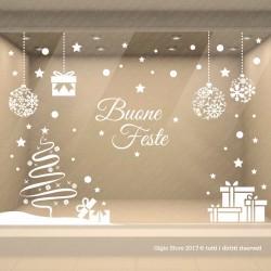 Vetrofanie Natalizie Vetrina Natale Decorazione Vetrine Negozi Adesivi Stelle Fiocchi di Neve Pacchi Regalo Scritte Buone Feste