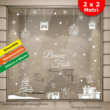 Vetrofanie Natale Vetrine Negozi, Vetrofanie Natalizie, Adesivi Natalizi, decorazioni natalizie, Adesivi Natale Vetri Finestre