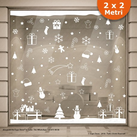 vetrofanie natale, Vetrofanie Natalizie, vetrofanie natale vetrine negozi, adesivi natale finestre, Adesivi natalizi fiocco neve