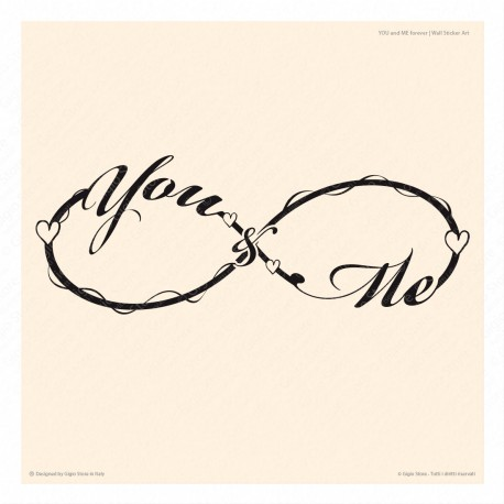 Gigio Store Wall Sticker Adesivo decorativo Murale Parete simbolo Infinito you and me forever idee regalo san valentino