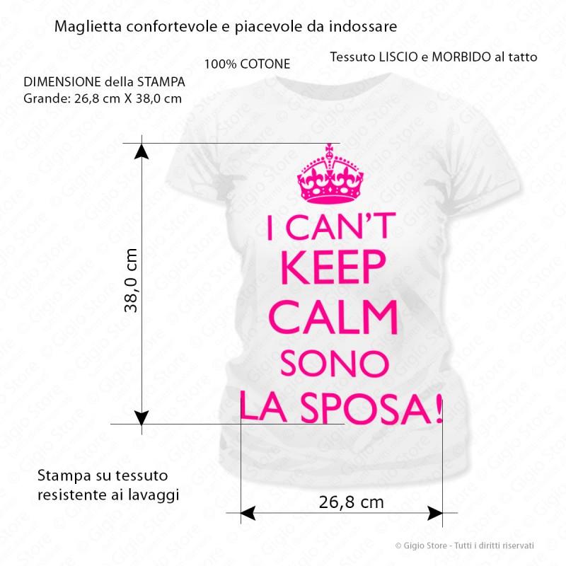 2fecc7a420 ... Gigio Store Maglietta festa Addio Nubilato TShirt logo Keep Calm Sposa  idee regalo Matrimonio Sposi Colore ...