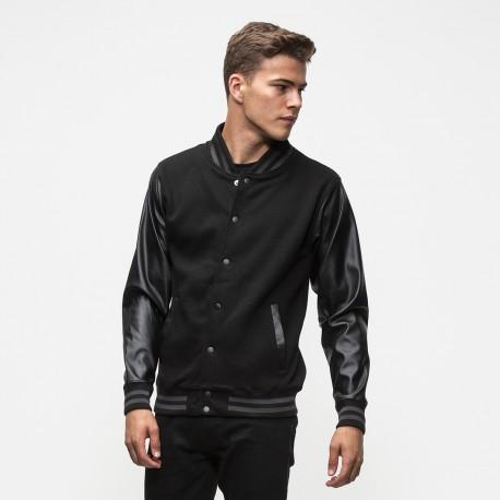 Gigio Store Giacca College stile Americano Varsity Jacket Neutra oppure con Stampa Maniche in Simil Pelle Felpata internamente