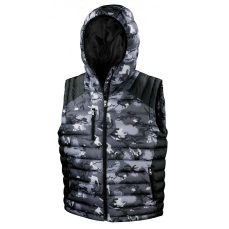 gilet smanicato con stampa Camouflage cappuccio integrato ottimo per lo sport il tempo libero e lavoro