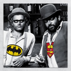 Poster Wall Art Murale Bud Spencer Terence Hill parodia Batman Superman realizzato da grafiche image studio in italia