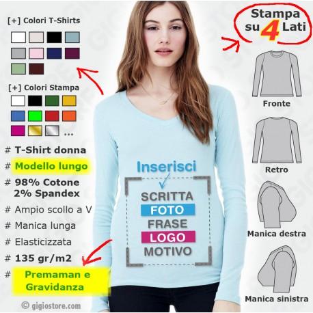 Magliette Personalizzate Donna Elasticizzate Manica Lunga Premaman Gravidanza