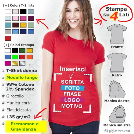 Magliette Donna Elasticizzate Premaman Personalizzate Gravidanza