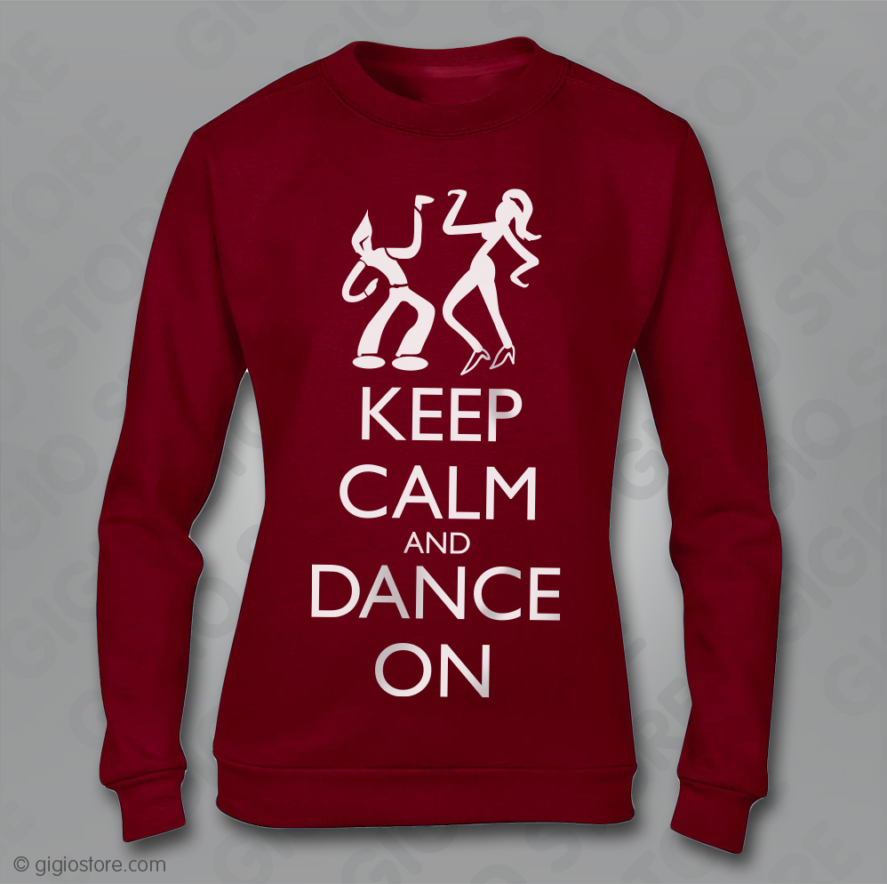 save off 2c3ec 828b7 Felpa Keep Calm and Dance, Felpa Donna, Felpa Rossa, Felpe ...