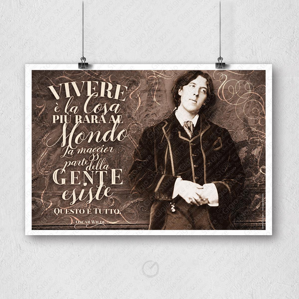 Vivere è la cosa più rara al mondo la maggior parte della gente esiste questo è tutto Poster Adesivi Muri citazioni Oscar Wilde