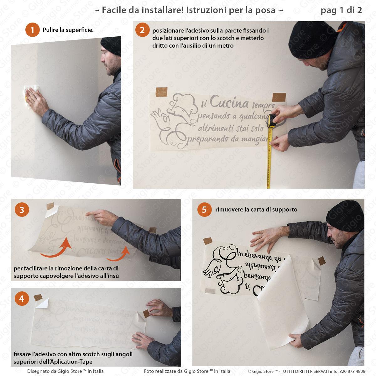 Gigio Store istruzioni applicazione sticker adesivo muro parete si cucina sempre pensando a qualcuno (1 parte)